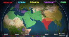 五つの宗教が5000年かけて広まる歴史を2分半にまとめた動画。これは興味深い