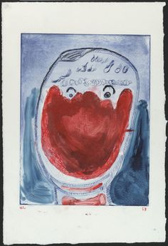 Louise Bourgeois. Staring Face with Red Hand, state III. (2000)