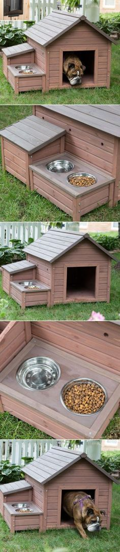 The ultimate multi-tasking dog house features a small cubby for storing supplies, a built-in food tray with metal bowls, and plenty of weatherproof details. When temperatures drop, the built-in heater automatically turns on to keep pets warm. Its energy-efficient design turns off automatically when the thermostat reaches a set temperature.