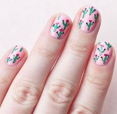 This manicure is just our style. The perfect shade of pink with the cutest little cacti has got us feeling all sorts of nail envy!