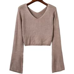 V Neck Long Sleeve Cropped Sweater ($24) ❤ liked on Polyvore featuring tops, sweaters, crop top, long sleeve tops, cropped v neck sweater, long sleeve sweater and long sleeve v neck sweater
