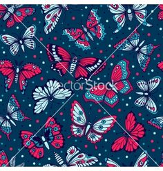 Seamless pattern with decorative butterflies vector 4350497 - by Baksiabat on VectorStock®