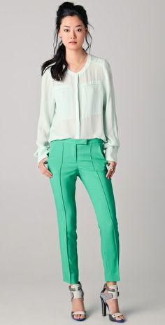 green cigarette pants | pistachio green cigarette pant | Style Me Pretty