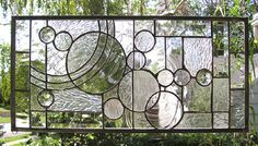 Geometric Study in Clears and Textures& Bevels Large Stained Glass Window Panel. $168.00, via Etsy.