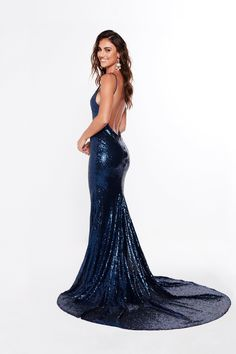 161538ab012 A N Alejandra - Navy Blue Sequins Gown with Low Back and V-Neck Navy Formal