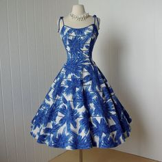 Vintage 1950's dress ...fabulous blue and white abstract hawaiian print cotton pique full skirt pin-up sundress from Traven7