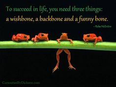 To succeed in life, you need 3 things: a wish bone, a back bone and a funny bone ~R McEntire Positive Outlooks