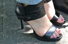 My pretty high heeled black leather sandals by invite Black Leather Sandals, Black High Heels, Invite, Flip Flops, My Style, Pretty, Shoes, Fashion, Moda