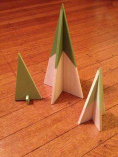 Balsa wood Christmas tree trio. Made 2014