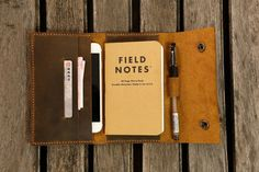 Leather travel journal wallet leather notebook wallet for pocket size field notes leather moleskine wallet cover iPhone 6 6s wallet FA605CDB