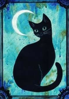 black cat and the moon I Love Cats, Crazy Cats, Black Cat Art, Black Cats, Cat Quilt, Cat Crafts, Cat Drawing, Beautiful Cats, Cats And Kittens