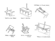 Nendo Japan 'Sinking About Furniture' (2003) | Designer's original sketches of various pieces from the line, along with illustrated suggestions for alternate uses for each.
