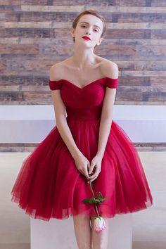 Red Prom Dresses #RedPromDresses, Prom Dresses Simple #PromDressesSimple, Short Prom Dresses #ShortPromDresses
