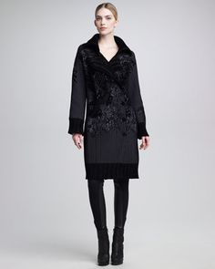 Chenille-Embroidered Coat & Leather-Inset Leggings by Jean Paul Gaultier at Bergdorf Goodman.