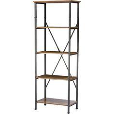 Industrial style wood and metal bookshelf - farmhouse furniture