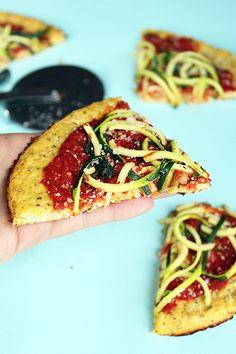 Marinara Cauliflower Pizza with Zucchini Spaghetti - The Kitchenthusiast
