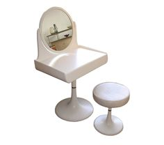 Rare space age dressing table and matching stool by Isku, Finnish circa 1970s.