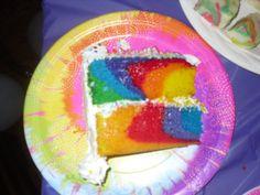 slice of tie dyed cake