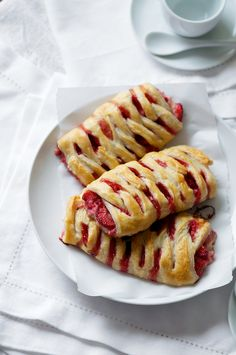 Homemade Strawberry Crossover Puff Pastries with pastry cream filling. Yummy!