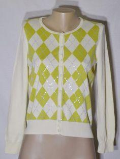 TALBOTS-PETITES-Cream-Green-Argyle-Cardigan-Sweater-PL-Sequins-Long-Sleeves
