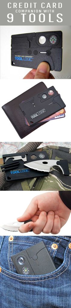 The Tool Logic Credit Card Companion (model CC1SB) is so light and slim that you'll barely know you have it, yet when needed you'll find it's amazingly useful. The 2-inch stainless blade is razor sharp and serrated to cut through even the toughest materials with ease. It also features a combination can/bottle opener, awl, 8x power lens and compass, tweezers and toothpick, plus inch and centimeter rulers on the back. At just 1.3 ounces, it packs effortlessly for travel both on and off-road.