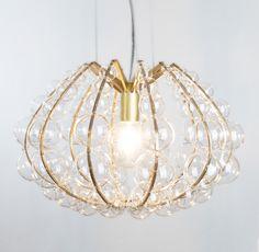 luminaire in brass and glass/ Isabel Hamm licht Glass Pendants, Chandelier, Decor, Pendant Light, Glass, Light, Bespoke Lighting