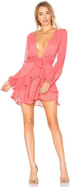 For Love & Lemons Tarta Long Sleeve Mini Dress in Coral