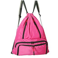 Daygos Drawstring Backpack Lightweight Foldable Waterproof Sports Gym Sackpack Bag (Pink) *** undefined