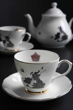 The tea set from BBC Sherlock - Reichenbach Fall.  Tea cup & saucer:  http://www.rockettstgeorge.co.uk/ali-miller-united-kingdom-teacup-and-saucer—-exclusive-to-rockett-st-george-5872-p.asp  Teapot:  http://www.rockettstgeorge.co.uk/ali-miller-united-kingdom-teapot—-exclusive-to-rockett-st-george-5869-p.asp