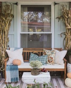 Welcome to the Fall Front Porch - Shades of Blue Interiors House With Porch, Cozy House, Konmari, Fall Home Decor, Autumn Home, Hygge, Porch Shades, Building A Porch, Porch Decorating