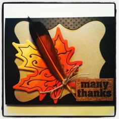 fall thank you card using Fiskars Fuse letterpress embellishment colored with Copic Markers. #spon