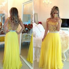 Tulle Prom Dresses,Yellow Prom Dress,Modest Prom Gown,Chiffon Prom Gowns,Lace Evening Dress,Princess Evening Gowns,2016 Party Gowns,Backless Prom Gowns,Open Back Evening Dress
