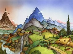 A hobbit's panorama: One Morning in The Shire  David Wenzel