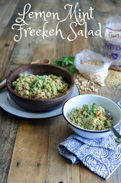 Lemon Mint Freekeh Salad // This bright and herbal salad is an interesting twist on traditional tabbouleh. // Bob's Red Mill // vegan, easy, whole grain
