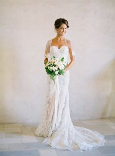 Bride -- Ines Di Santo Gown | On Style Me Pretty: http://www.StyleMePretty.com/2014/03/12/al-fresco-wedding-in-santa-ynez/ Jose Villa Photography | Floral Design: Mindy Rice