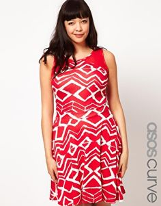 Enlarge ASOS CURVE Exclusive Skater Dress In Red Brush Stroke Print