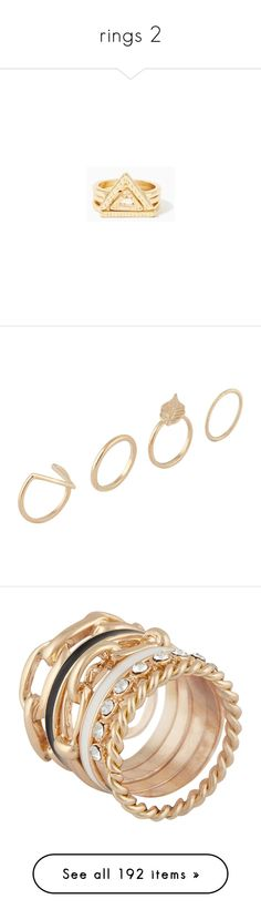 """""""rings 2"""" by lizabethica ❤ liked on Polyvore featuring jewelry, rings, polish jewelry, aztec ring, gold rings, gold jewellery, triangle ring, gold, aldo jewelry and aldo rings"""