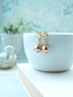 Rose Gold Pearls Earrings, Large Pearls Earrings, Pearl Dangle Studs Rose Gold Cubic Zirconia Ear Studs. Bridal Earrings, Bridesmaids Gift.
