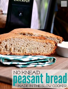 This Slow Cooker No Knead Peasant Bread Recipe lets you to have fresh bread in the summer without heating up the house. Perfect compliment to salads, pasta, grilled meat or a wine/cheese tray.