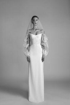 White sheath wedding dress with billowing floral lace sleeves. White sheath wedding dress with billowing floral lace sleeves. White sheath wedding dress with billowing floral lace sleeves. White sheath wedding dress with billowing floral lace sleeves. Wedding Dress Sleeves, Dream Wedding Dresses, Bridal Dresses, Wedding Gowns, Lace Sleeves, Dress Lace, Bridesmaid Dresses, Alon Livne Wedding Dresses, Chic Dress