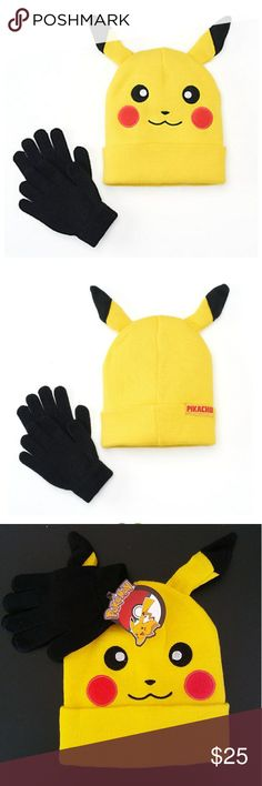 Pokemon hat & gloves set New with tag. Its a pikachu hat with gloves set. Its a one size fit. No trades or Pp thanks Accessories Hats Pikachu Hat, Pokemon Hat, Yellow Black, Gloves, My Favorite Things, Hats, Diy, Accessories, Things To Sell
