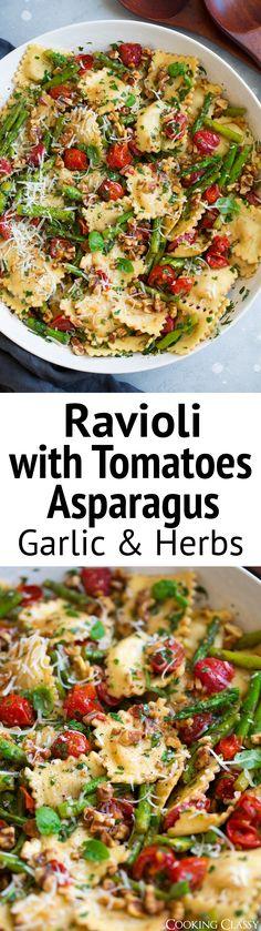 Ravioli with Tomatoes Asparagus Garlic and Herbs via @cookingclassy