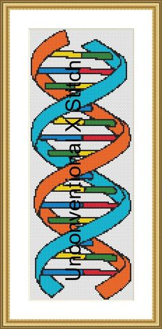 DNA science nerd biology cross stitch pattern by UnconventionalX on Etsy