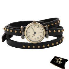 Stylebox24 - Montre femme analogique, bracelet 3 tours simili cuir clouté - Noir