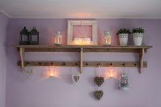 Steigerhout wandrek/ keukenrek/ kapstok `Suzanna` (Verf doorschuren voor een brocant effect,Wandrek wit schilderen (2x wit mat,Bevestiging m...