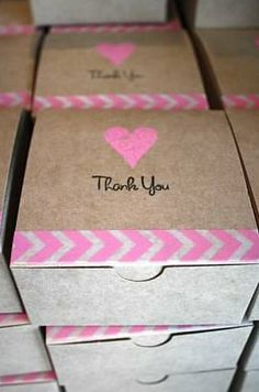 """12 Preassembled Thank You Kraft Boxes with Pink Hearts and Washi Tape (4x4x2"""") on Etsy, $23.00"""