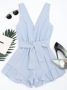 Plunging Neck Belted Striped Romper - Blue Stripe - Blue Stripe S Rompers For Teens, Cute Rompers, Rompers Women, Jumpsuits For Women, Cute Summer Outfits, Trendy Outfits, Cute Outfits, Fashion Outfits, Womens Fashion