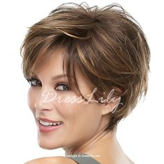 Trendy Shaggy Brown Blonde Mixed Capless Short Side Bang Natural Wave Synthetic Wig For Women
