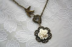 Flying bird charm necklace antique rose filigree by missvirgouk