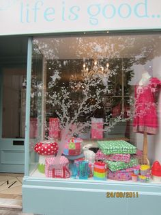 Life is Good shop window in Edinburgh. Frosted vinyl on the window sets the scene for the display inside